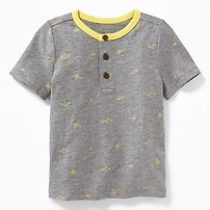 Printed Slub-Knit Henley for Toddler Boys – Dark Heather Gray